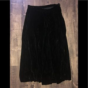 Vintage Black Velvet Long Skirt
